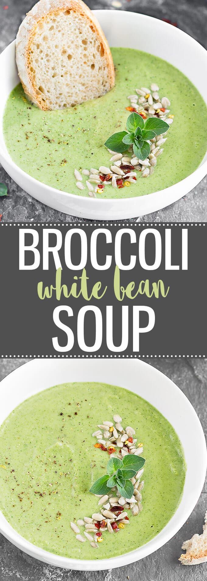 Broccoli White Bean Soup - creamy, healthy and super easy to make! (vegan + gluten-free + dairy-free) #soup #healthyrecipes #healthyeating #vegan #dairyfree #glutenfree #broccolisoup #easyrecipe | aseasyasapplepie.com
