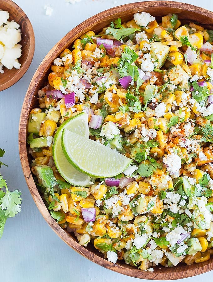 A bowl of Mexican street corn salad - close up