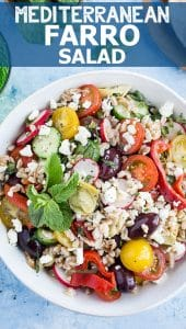Mediterranean Farro Salad - a simple, delicious, and healthy recipe that's great for picnics, barbecues, and weeknight dinners.