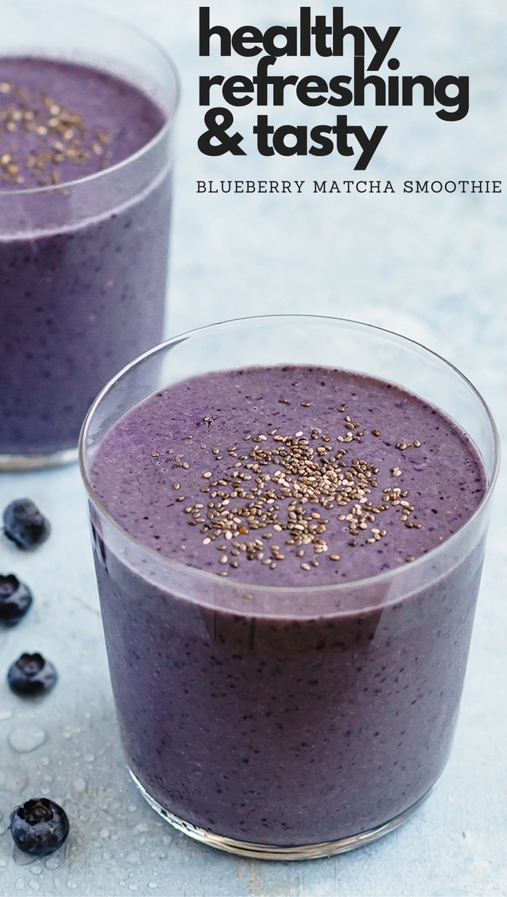 Blueberry Matcha Smoothie - An awesome breakfast on-the-go! This creamy smoothie is healthy, nutritious, naturally sweetened, and vegan.