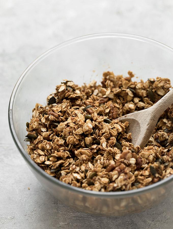 Pumpkin Spice Granola. Simple, healthy, and DELICIOUS! Recipe at aseasyasapplepie.com