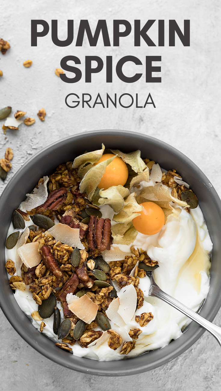 Pumpkin Spice Granola - A simple and healthy granola infused with tons of pumpkin flavor and fall spices! Perfect for breakfast either served in a bowl with a splash of milk or sprinkled over Greek yogurt and smoothie bowls. It also makes a great snack! #vegan #fall #pumpkin #granola #breakfast #easyrecipes