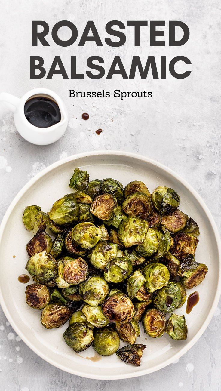 Roasted Balsamic Brussels Sprouts - Brussels sprouts roasted in the oven until perfectly crisp and caramelized, then drizzled with a touch of balsamic vinegar and honey just before serving. A quick, easy and healthy side dish perfect for your Thanksgiving or Christmas table!