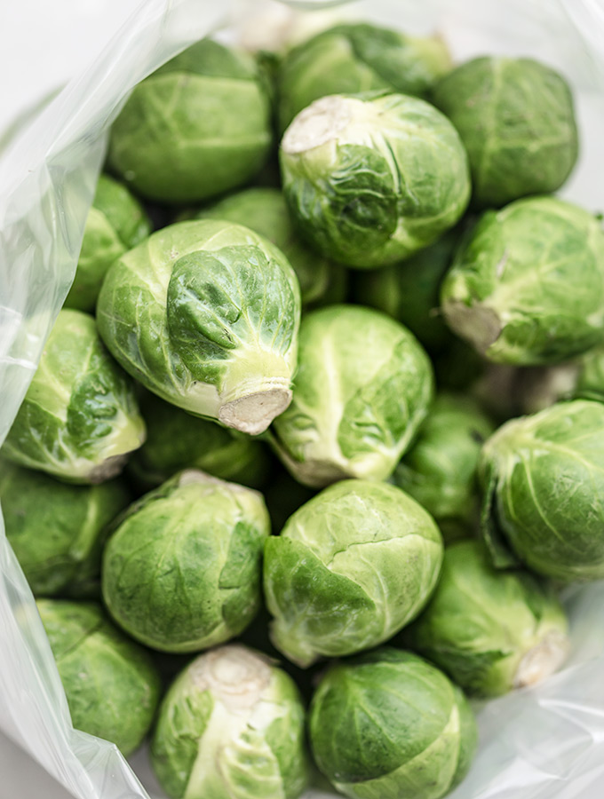 bag of fresh Brussels sprouts