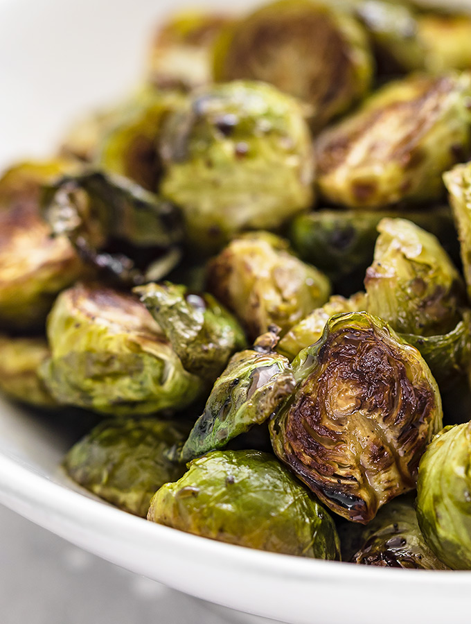 close up of roasted Brussels sprouts