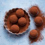 Almond chocolate truffles coated with raw cacao powder