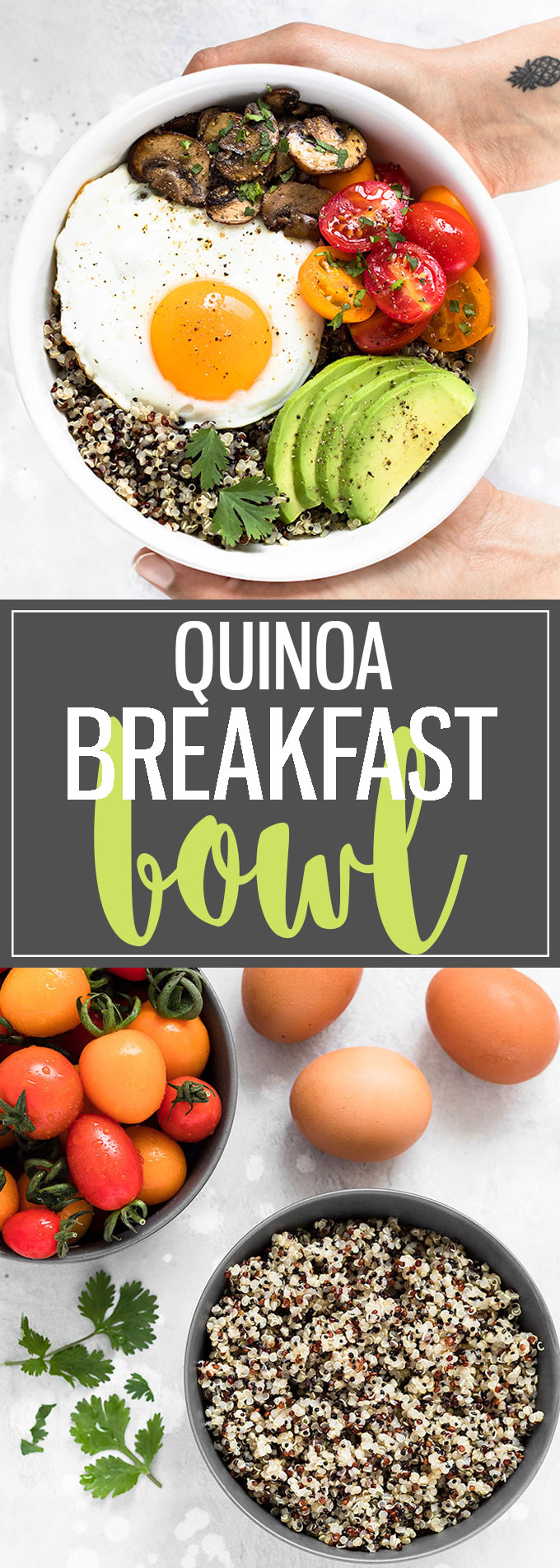 This Healthy Breakfast Bowl with Egg and Quinoa is a great way to combine nutritious ingredients into one simple,filling, and tasty meal.If you have cooked quinoa on hand, it comes together in about 10 minutes. Perfect for busy mornings! #breakfast #bowl #breakfastbowl #healthyeating #healthyrecipes #quinoa #mealprep #egg #brunch