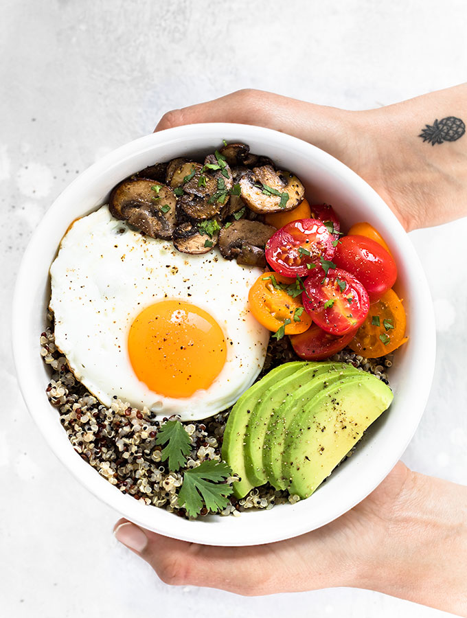 healthy breakfast bowl with egg and quinoa as easy as apple pie