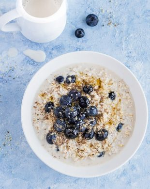 bowl of blueberry overnight oats