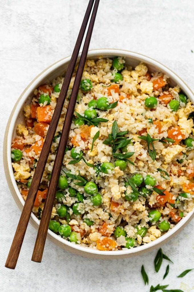 A bowl of cauliflower fried rice