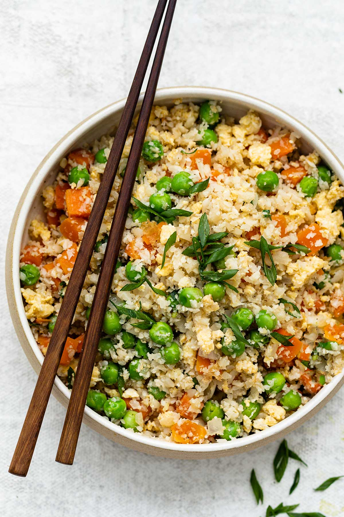 A bowl of cauliflower fried rice