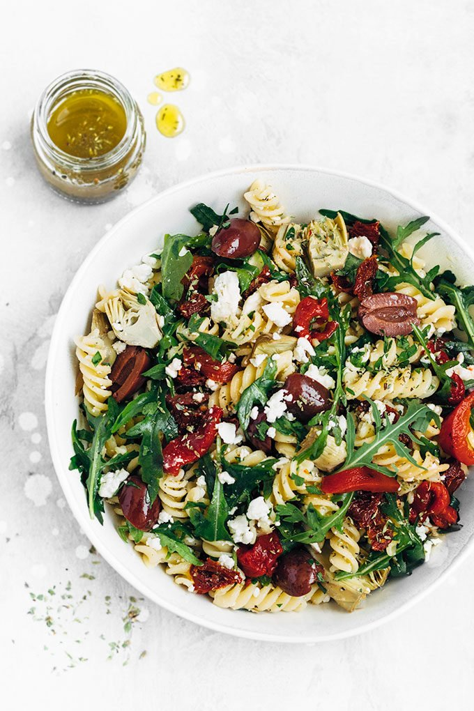 Mediterranean Pasta Salad with homemade Italian dressing